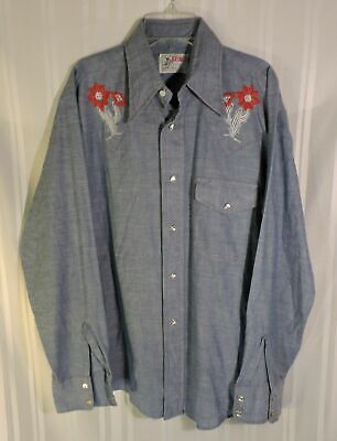 NEW 1960's Men's Bronco Western Shirt Pearl Snap Blue Jean Chambray MED 15 1/2