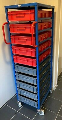 Industrial Mobile Tray Rack For 118Mm Euro Containers  ( 10 Trays Included)
