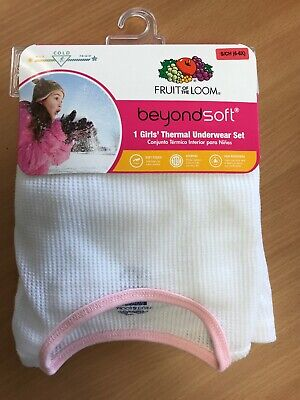 035ee6730f50 Girls Fruit of the Loom Beyond Soft White/Pink Thermal Underwear Set Small  6-