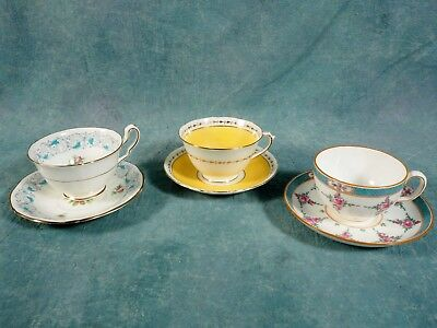 Set of 3 English Bone China Tea Cup & Saucer Minton Adderley Chelsea