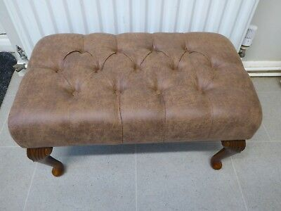 """Stunning NEW Large Tan Leatherette 24""""x14"""" Buttoned Foot Stool"""