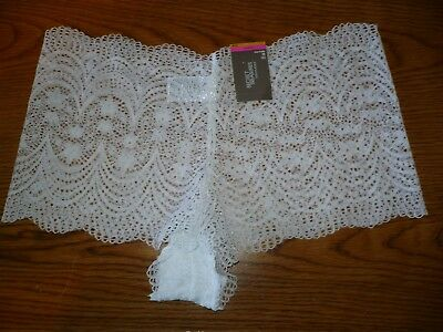 Secret Treasures Cheeky Panties Size Large (7) Sexy Lace White Color
