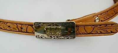 Vintage Western Tooled Leather Belt With Silvertone Stagecoach Buckle Narrow Sm