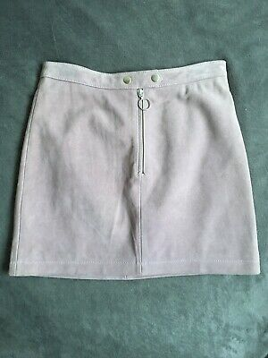 Topshop Boutique Real Leather Suede Skirt Uk 10 Light Pink With Zip