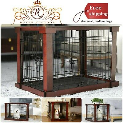 Pet Crate Wood Veneer Cover Removable Plastic Tray Divider Powder Coated Steel
