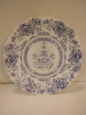 Set - 8 Arcopal Honorine Scalloped Salad Plates/Bowls Blue Floral Made In France