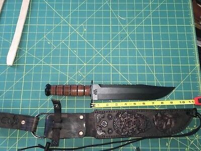 "Straight Knife Hand Carved Leather Sheath Fits Up To 1 3/4 X 9.5"" Blade"