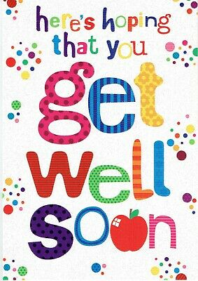 message inside suitable for male/female Hoping you get well soon greeting card