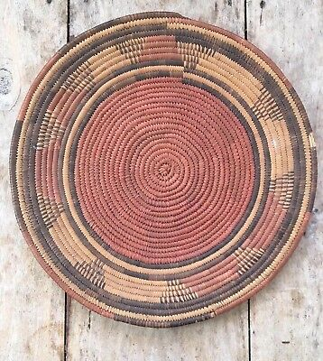 Lovely Old Native American or Vintage African ? Coil Woven Wall Tray Basket