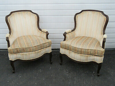 Pair of French Carved Living Bed Room Fireplace Side Chairs by Drexel 9569