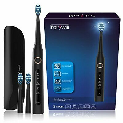 Fairywill Electric Toothbrush 4 Hours Fast Charge with Travel case 3 Brush Heads