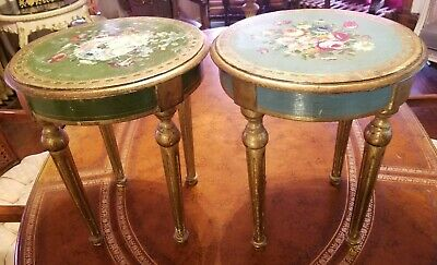 Pair Vintage Petite Italian Florentine Polychrome Tables Gold Gilt Fluted Legs
