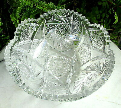 Wonderful Antique Abp Brilliant Cut Glass Bowl With Solid Cutting