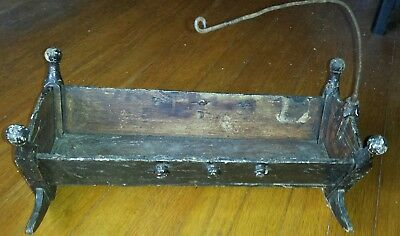 ANTIQUE 1800'S FOLK ART DOLL BABY rocking CRADLE~HAND MADE~WOOD~mobile holder
