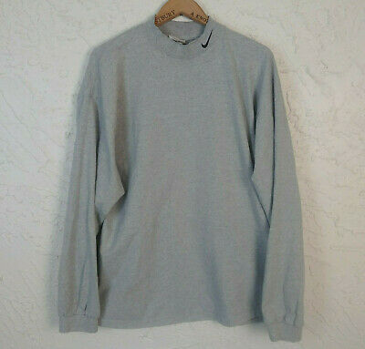 81959cf9 Vintage Nike Mens Size 2XL Mock Neck Long Sleeve Cotton Top Gray Made in USA