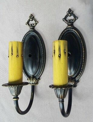Antique 1920s-1930s Wall Sconces, Cast Bronze or Brass, Modern Wiring, Guarantee