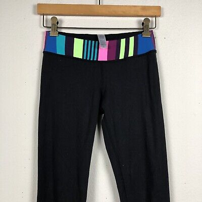 fd6184a1078f8a IVIVVA by Lululemon Girls Size 12 Black Wunder Reversible Rhythmic Leggings  S3