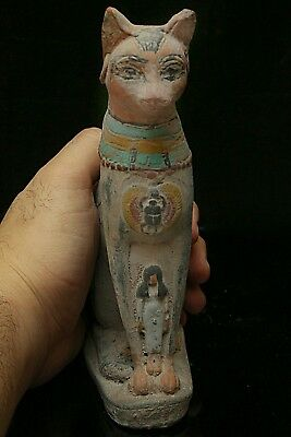 EGYPTIAN BASTET, STATUE ANTIQUE Goddess CAT Bast EGYPT Stone Carved Stone BC V90