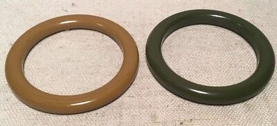 Antique Pair Army & Olive Green Bakelite Narrow Bangle Bracelets
