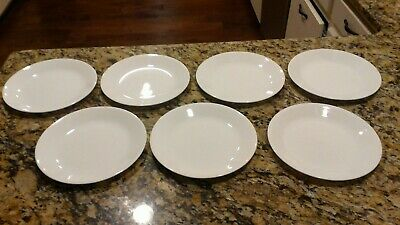 """Set Of 7 Corelle WINTER FROST White Salad Lunch Plates 8 1/2"""" Luncheon"""