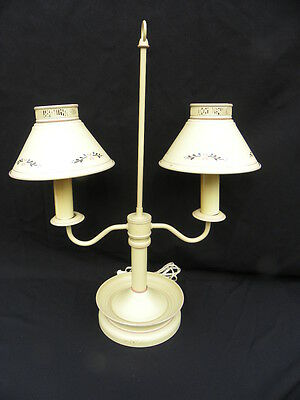 Vintage Electric Tan Painted Toleware Double Student Lamp w/Flowers