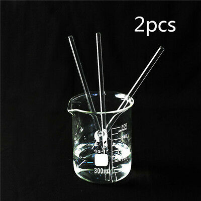 200mm x 5mm Glass Stirring Rod for Lab Use Stir Stirring Stirrer Laboratory 2pcs
