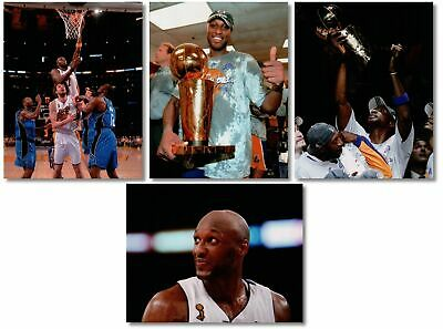4 Different Lamar Odom Unsigned 8X10 HQ Lakers NBA Finals Photos Photographs