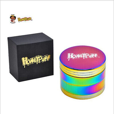1 X Honeypuff 4 layers Tobacco Herb Grinder with Cutting Blades Colorful Box
