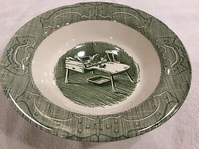 "Rare THE OLD CURIOSITY SHOP (GREEN) by Royal 9"" ROUND VEGETABLE BOWL, USA"