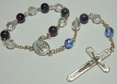 Handmade in the USA Our Lady of Pompei Single Decade Rosary with Amethyst Beads