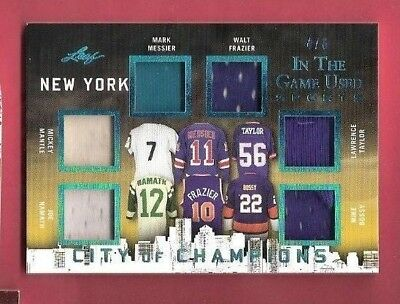Mickey Mantle Joe Namath MARK MESSIER WALT FRAZIER 6 JERSEY CARD #D4/6 LEAF NY