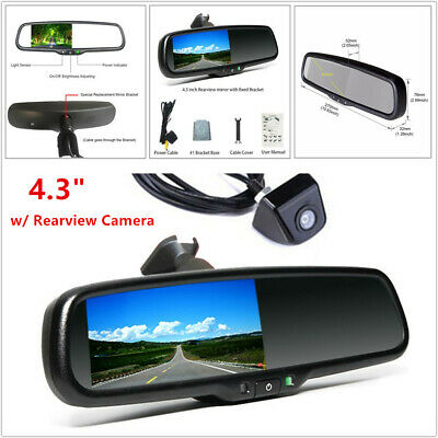 """4.3"""" Car Auto Dimming TFT LCD Rearview Mirror Monitor w/ Camera Night Vision Kit"""