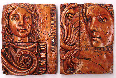Pair of Greek Spritiual Female Face Fragment Wall Plaque Home Decor Sculpture