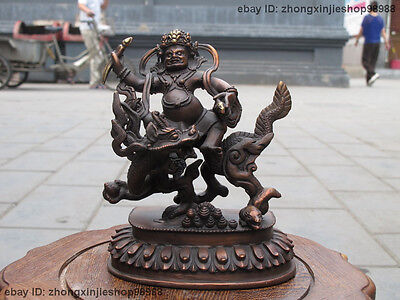 "7""Tibet Buddhism Red Bronze White Jambhala Sit on Dragon Wealth Buddha Statue"