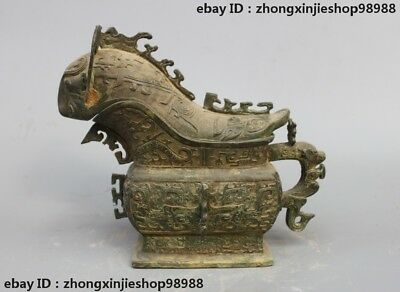 Chinese old Bronze Ware Dragon sheep Beast Zun Dynasty Drinking Vessel Pot