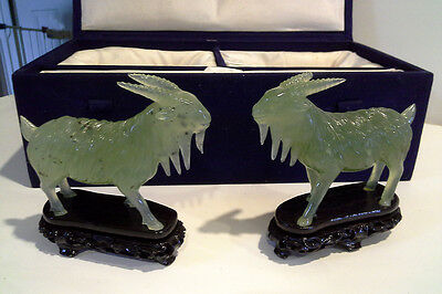 Chinese Carved Nephrite Jade Goats (2) Figurines, w padded box, w stands