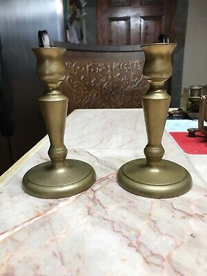 Antique Brass Table candle holder set 5x3 Colonial style