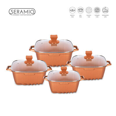 4pc Non Stick Die Cast Stockpot Casserole Cooking Pot SQUARE Cookware Set CUPRUM