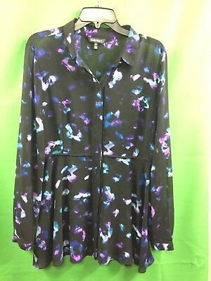 8ba984e5 8668) ELLEN TRACY large L black purple green floral sheer polyester blouse  fittd