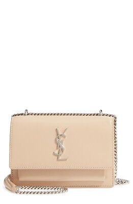 57e6a4f7ca75 100% Auth New Women Yves Saint Laurent Small Sunset Wallet On Chain Beige  Bag