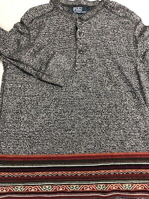 Polo Ralph Lauren Men Shirt Heather Gray Aztec Cotton Rabbit Hair Large/ MEDIUM