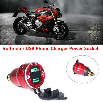 For Motorcycle Hella Plug QC3.0 LED Voltmeter USB Phone Charger Power Socket Red