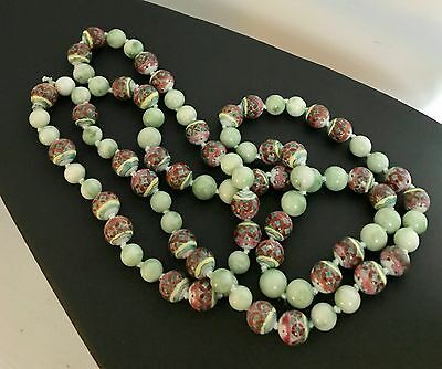 "Exquisite 42"" Custom Necklace ~Genuine Old Chinese Jade & Old Porcelain Beads"
