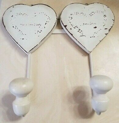 """Bonheur """"Happiness"""" 2 Hooks Shabby Chic Distressed White Hearts Wall Hangers"""