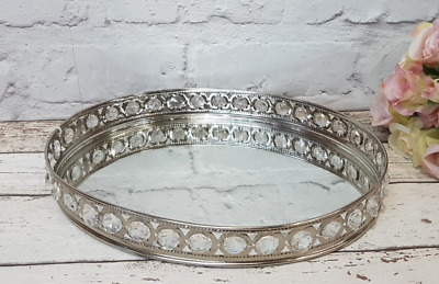 Silver Effect Mirror Tealight Candle Tray Plate with a Gem Border 28cm