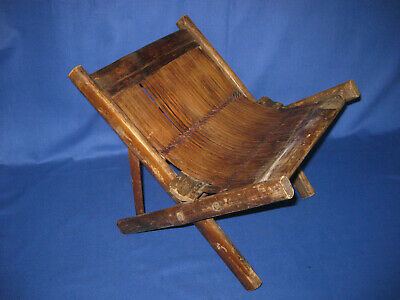 Unusual Asian Antique Primitive Small Bamboo Stool.
