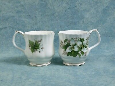 Royal Albert Trillium COFFEE MUG gold white green Bone China Vintage
