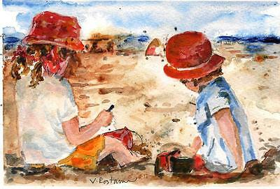 """A543-ORIGINAL WATERCOLOR PAINTING, """"Kids at beach"""",Gift idea child girls ACEO"""