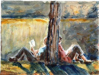 """A619-ORIGINAL WATERCOLOR PAINTING, """"Lost in Reading"""",Gift Idea ACEO birthday NYC"""