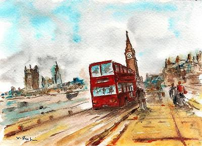 """A517-ORIGINAL WATERCOLOR PAINTING, """"A day in London"""",Gift Idea Travel aceo card"""